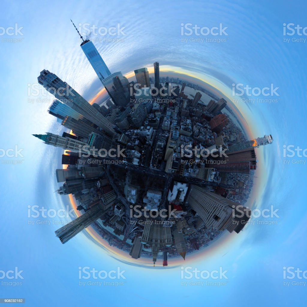 Evening Aerial 360 Degree Panoramic of Manhattan stock photo