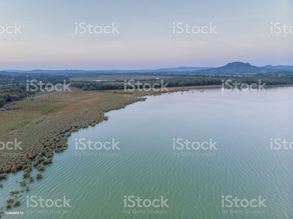 Evening aerial drone picture from a lake Balaton of Hungary – zdjęcie