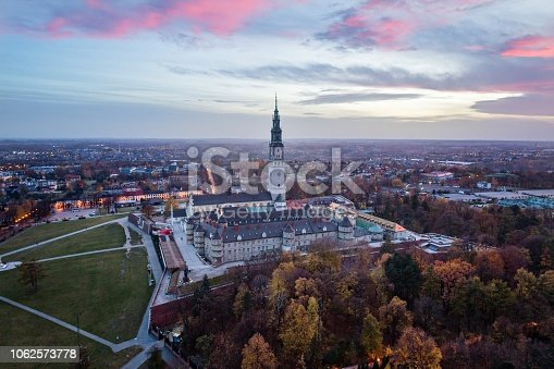 istock Evening aerial drone view on Czestochowa and Jasna Gora monastery 1062573778