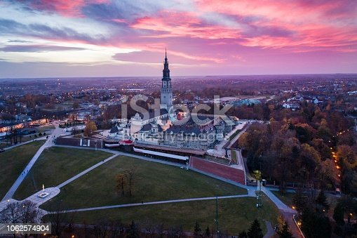 istock Evening aerial drone view on Czestochowa and Jasna Gora monastery 1062574904