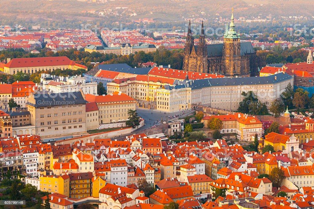 Evening aerial view of Prague Castle complex in Czech Republic stock photo