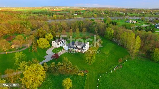 Evening aerial view of scenic rural home surrounded by trees in Springtime.