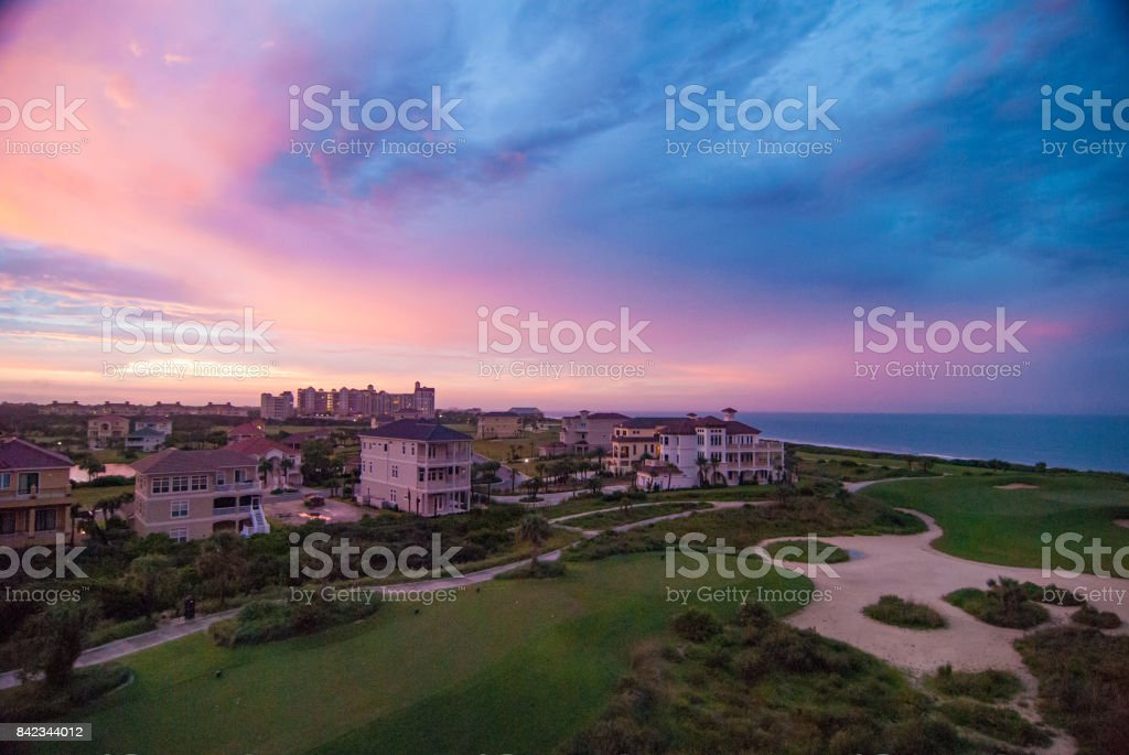 Evening Afterglow on Golf Course at Palm Coast, Florida stock photo