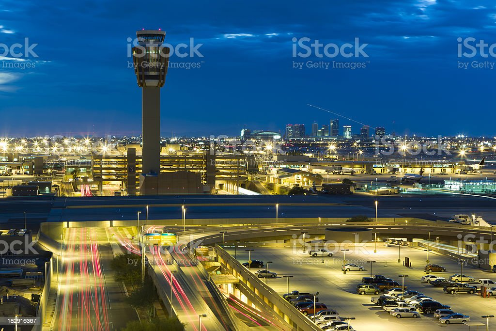 Evening Airport Traffic stock photo