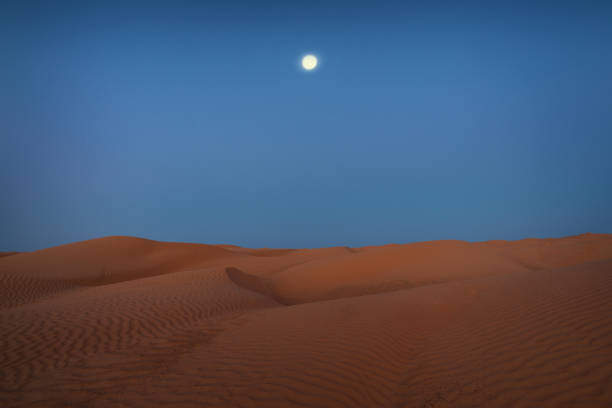 evening and moon in Sahara stock photo