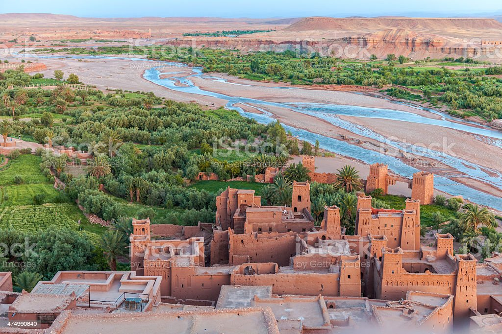 Evening Aït Ben Haddou, Ancient city in Morocco North Africa stock photo