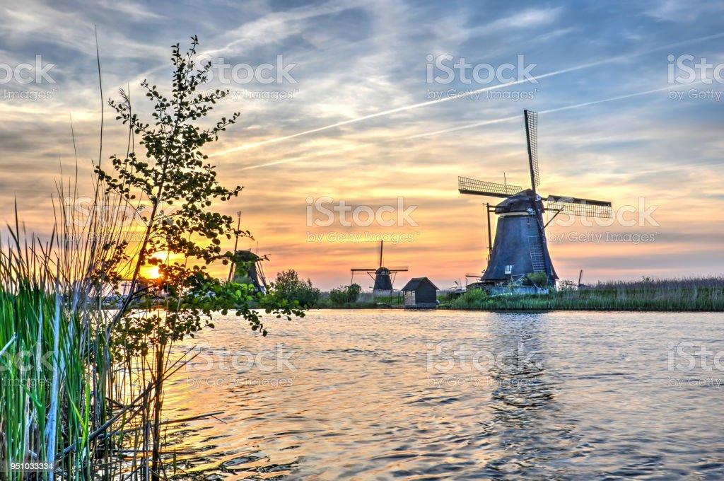 Evening at Kinderdijk stock photo
