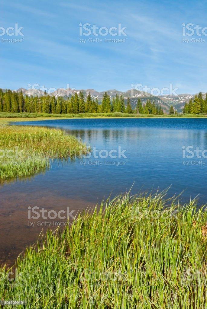 Evening at Little Molas Lake stock photo