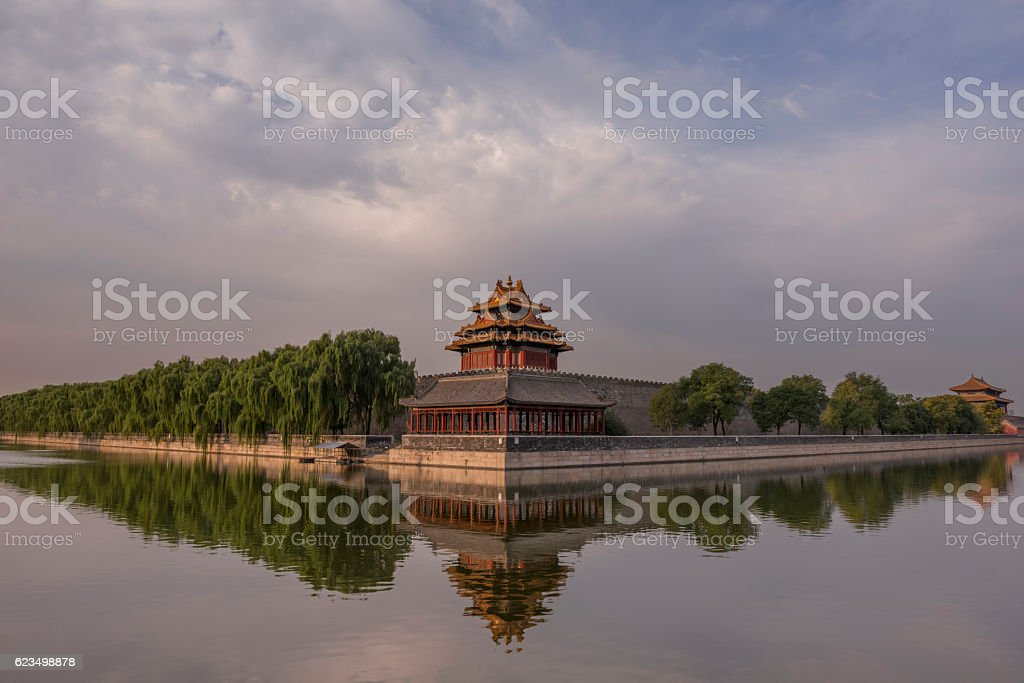 Evening at North-East Corner Tower of the Forbidden City stock photo