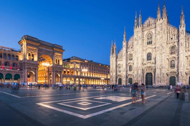 Evening at Piazza del Duomo, Milan stock photo