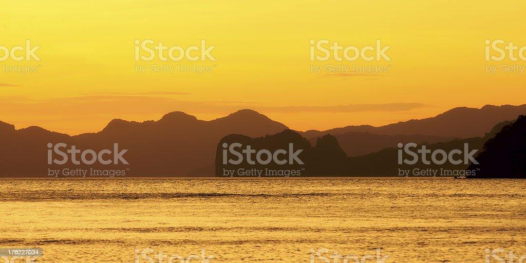 Evening at the El Nido Bay royalty-free stock photo
