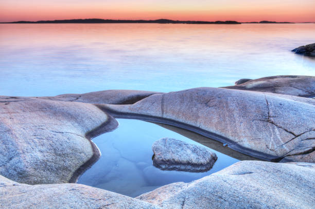 Evening at the Swedish coastline stock photo
