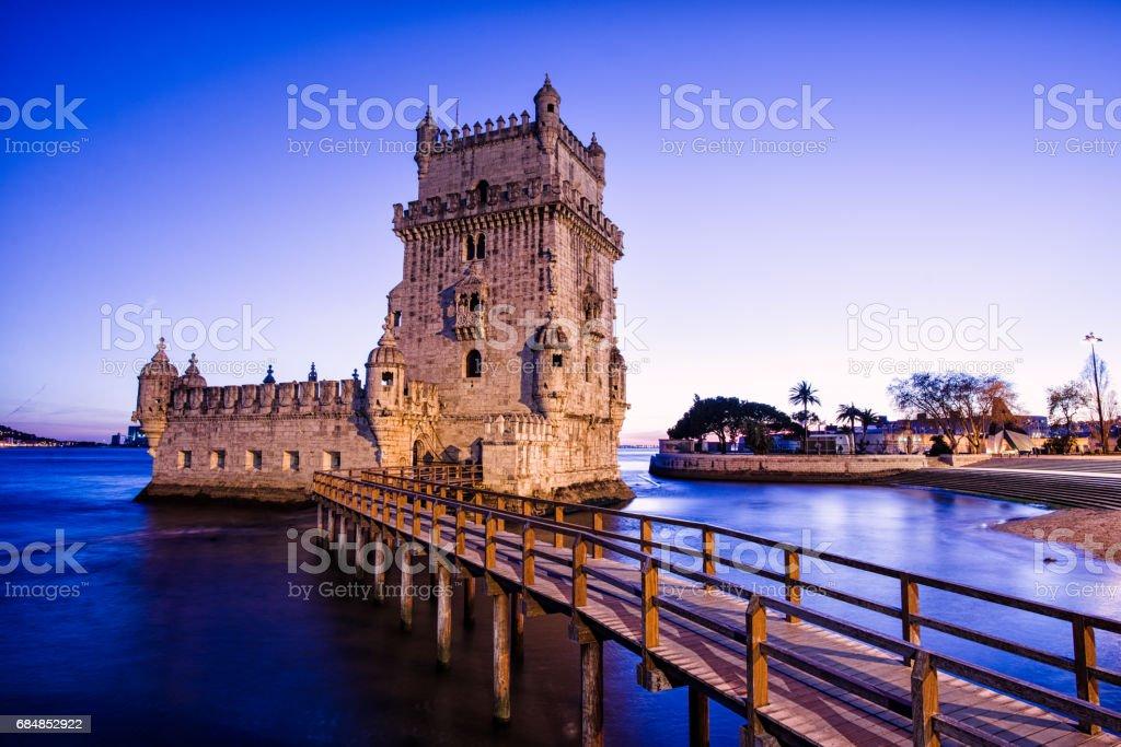 Evening at Torre Belem, Belem Tower in Lisbon, Portugal stock photo