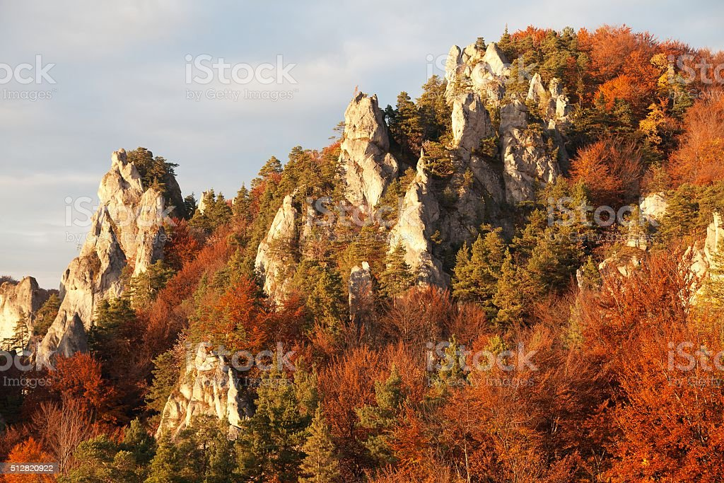Evening autumnal red colored view from Sulov rockies stock photo