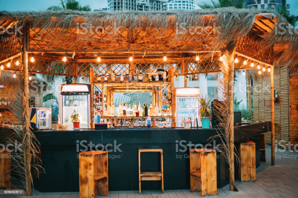 Evening Bar In Form Of Tropics On Sea Coast stock photo