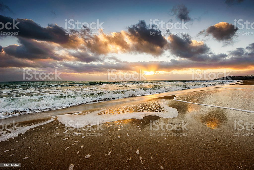 Evening beach view stock photo