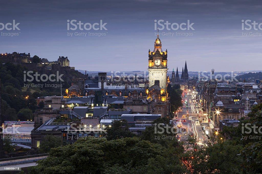 Evening cityscape of Edinburgh, Scotland stock photo
