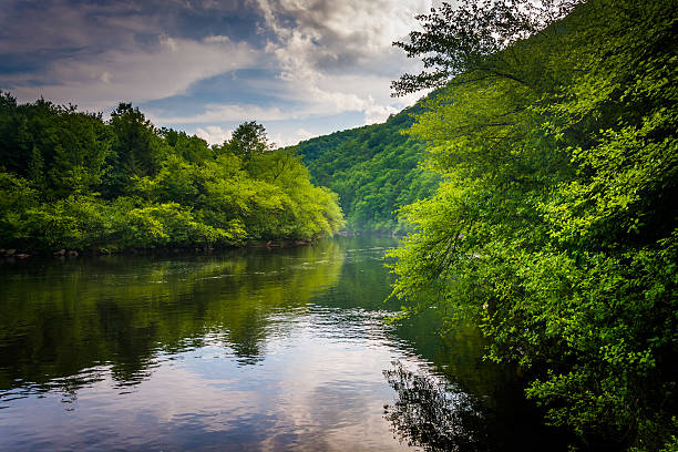 Evening clouds reflections in the Lehigh River, at Lehigh Gorge stock photo