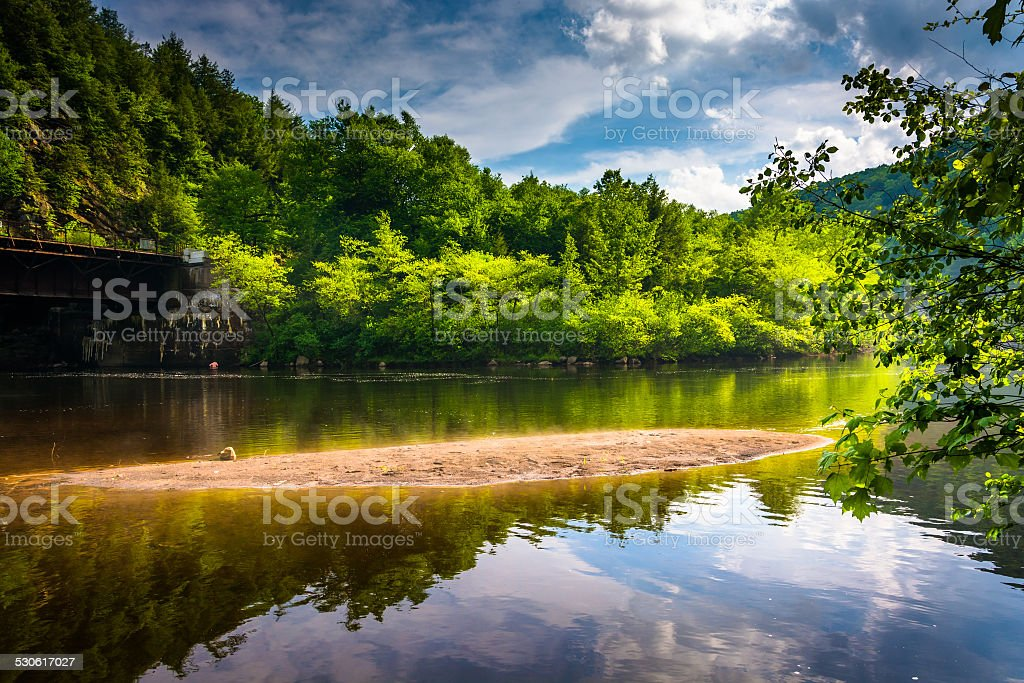Evening clouds reflections in the Lehigh River, at Lehigh Gorge royalty-free stock photo