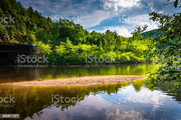 Evening Clouds Reflections In The Lehigh River At Lehigh Gorge Stock Photo - Download Image Now
