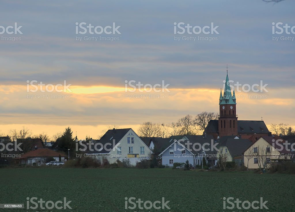 Evening Cloudscape Over Ottersleben stock photo