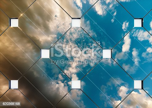 istock Evening cloudy sky reflection on solar panel. 3d rendering. 620368168