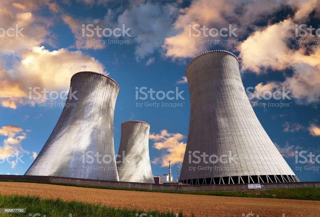 Evening colored view of cooling tower - Nuclear power stock photo