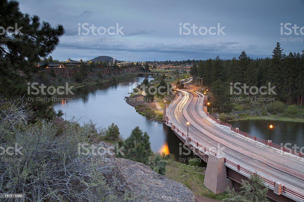 Evening Commute Traffic on Bridge stock photo