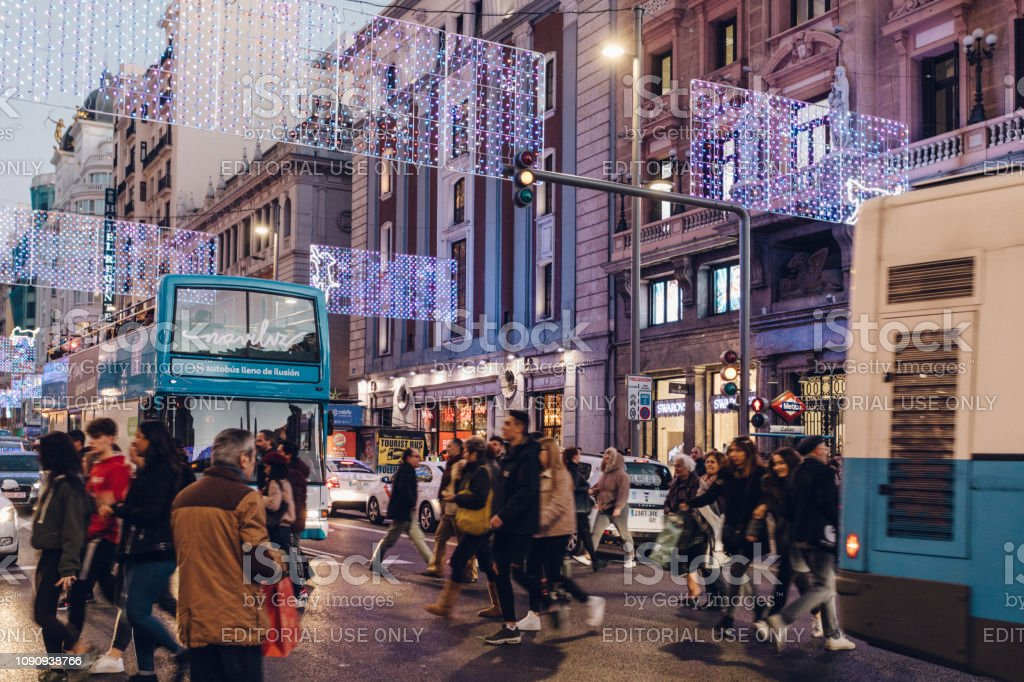evening commuters stock photo