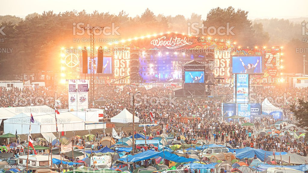 Evening concert on main stage. stock photo