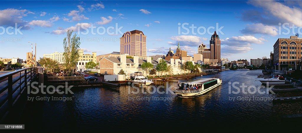 Evening Cruise in Milwaukee,Wisconsin stock photo