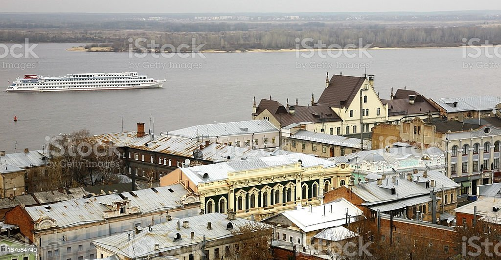 Evening cruise on Volga River along the most ancient street stock photo