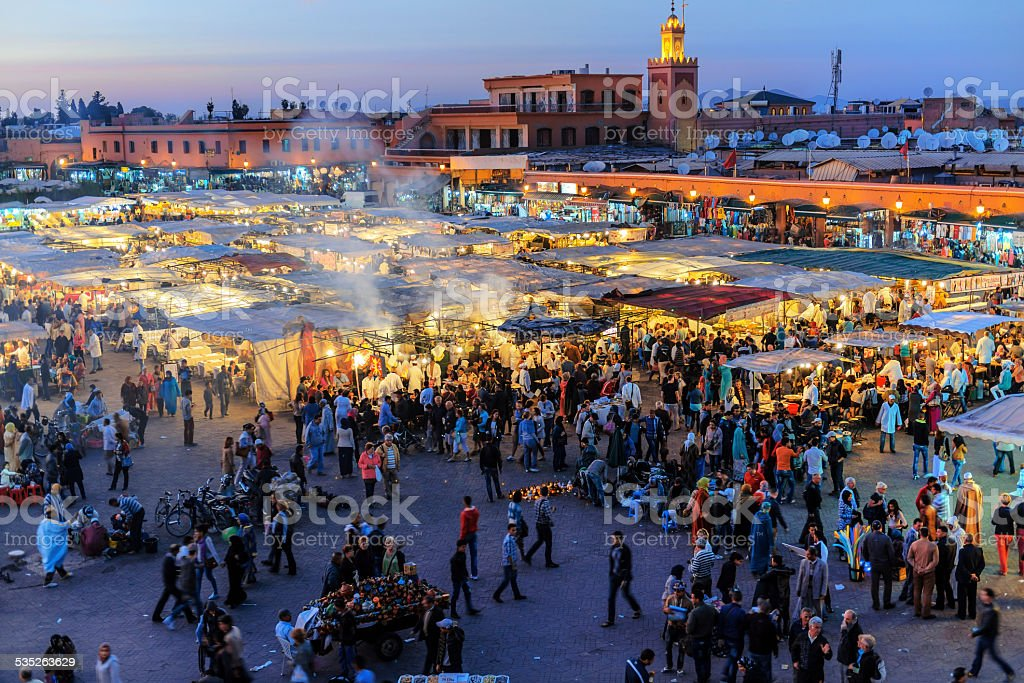 Evening Djemaa El Fna Square, Marrakech, Morocco stock photo