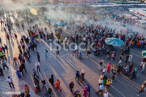 Evening Djemaa El Fna Square with Koutoubia Mosque, Marrakech, Morocco,North Africa,Nikon D3x