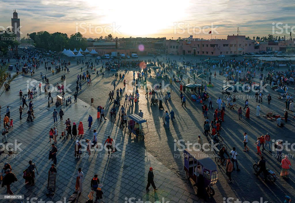 Evening Djemaa El Fna Square with Koutoubia Mosque, Marrakech, Morocco royalty-free stock photo