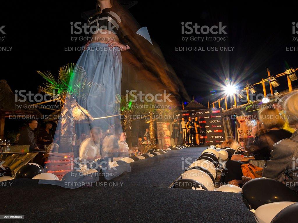 Evening dress at Fashion Show in Portoroz, Slovenia stock photo