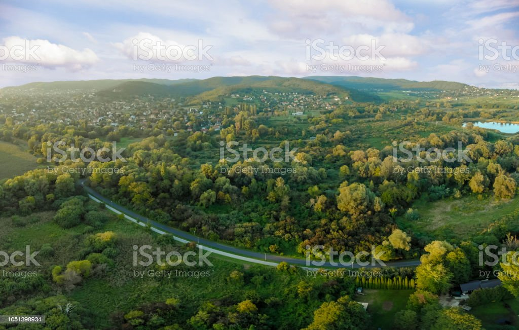 Evening drone aerial panoramic picture from a Hungarian landscape , near the lake Balaton – zdjęcie