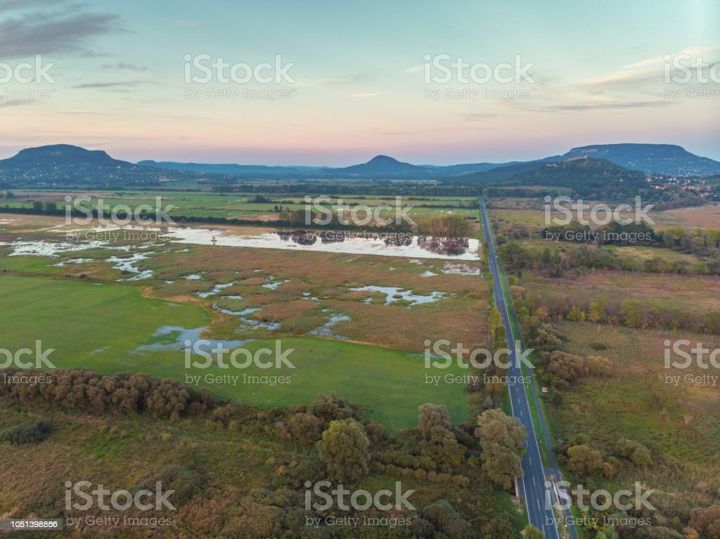 Evening drone aerial picture from a Hungarian landscape , near the lake Balaton – zdjęcie