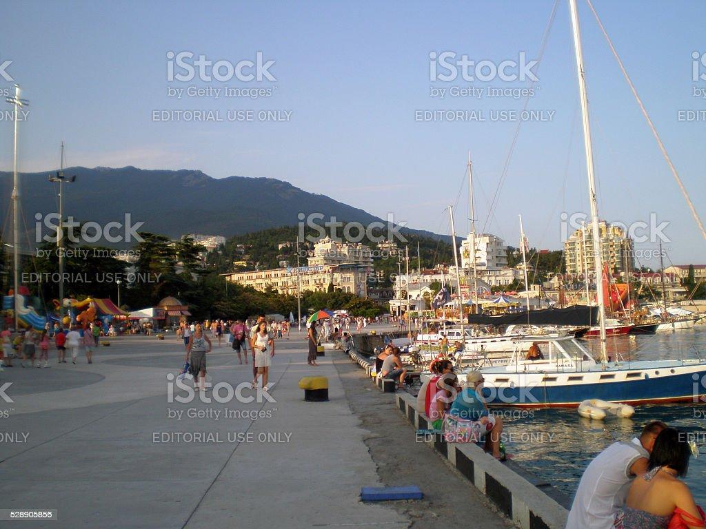 Evening embankment of Yalta(Crimea) stock photo