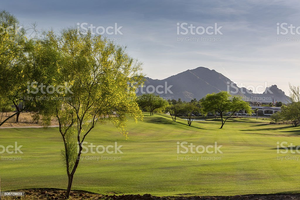 Evening falls over the Scottsdale Greenbelt Park and   Camelback Mountain stock photo