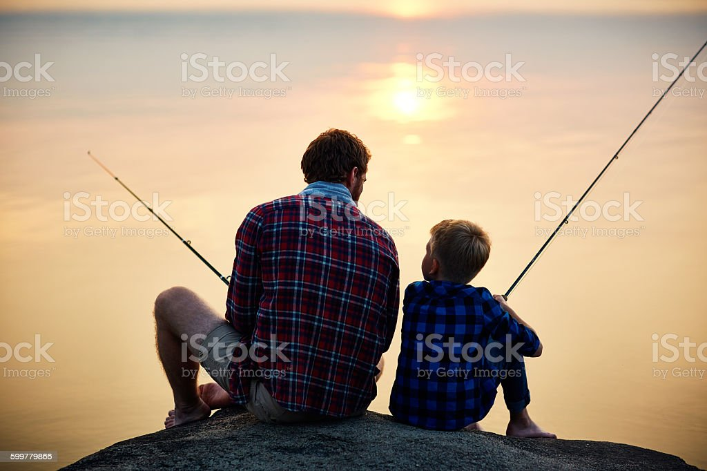 Evening fishing stock photo