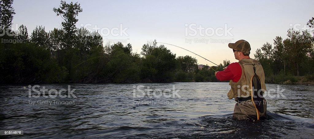 Evening Flyfishing royalty-free stock photo