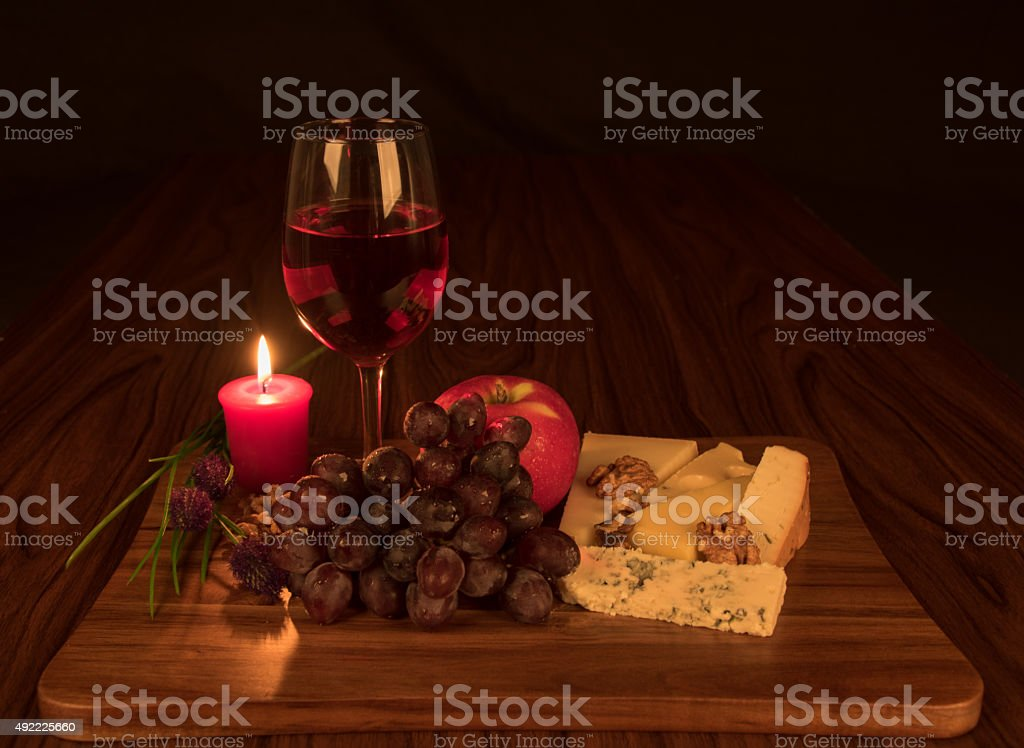 Evening glass of wine stock photo
