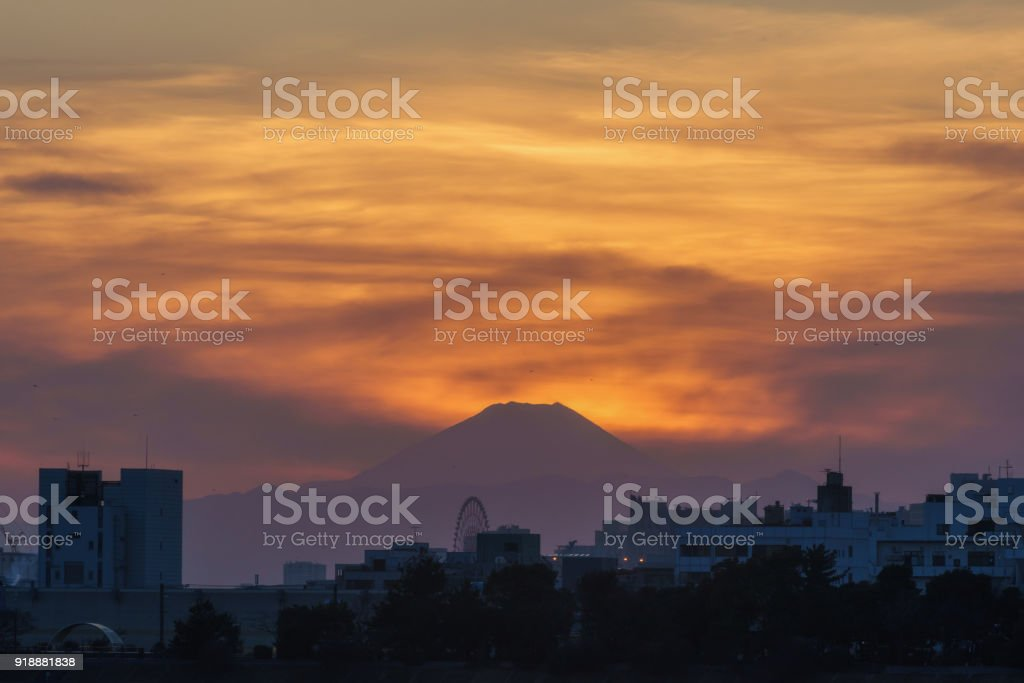 View of Evening Glow and Mt. Fuji from Arakawa River Mouth