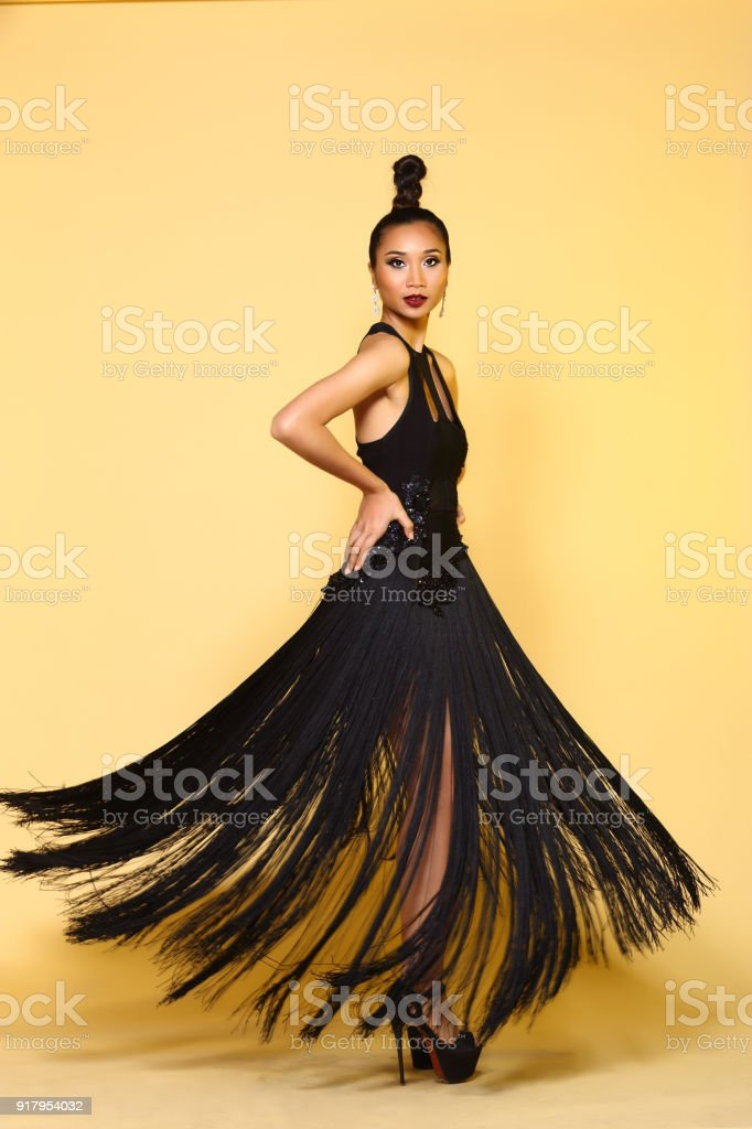 Evening Gown Ball Dress In Asian Beautiful Woman With Fashion Make ...