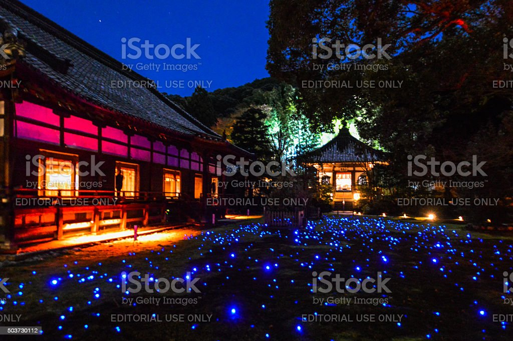 Evening illumination at Shoren-in Temple in Kyoto, Japan stock photo