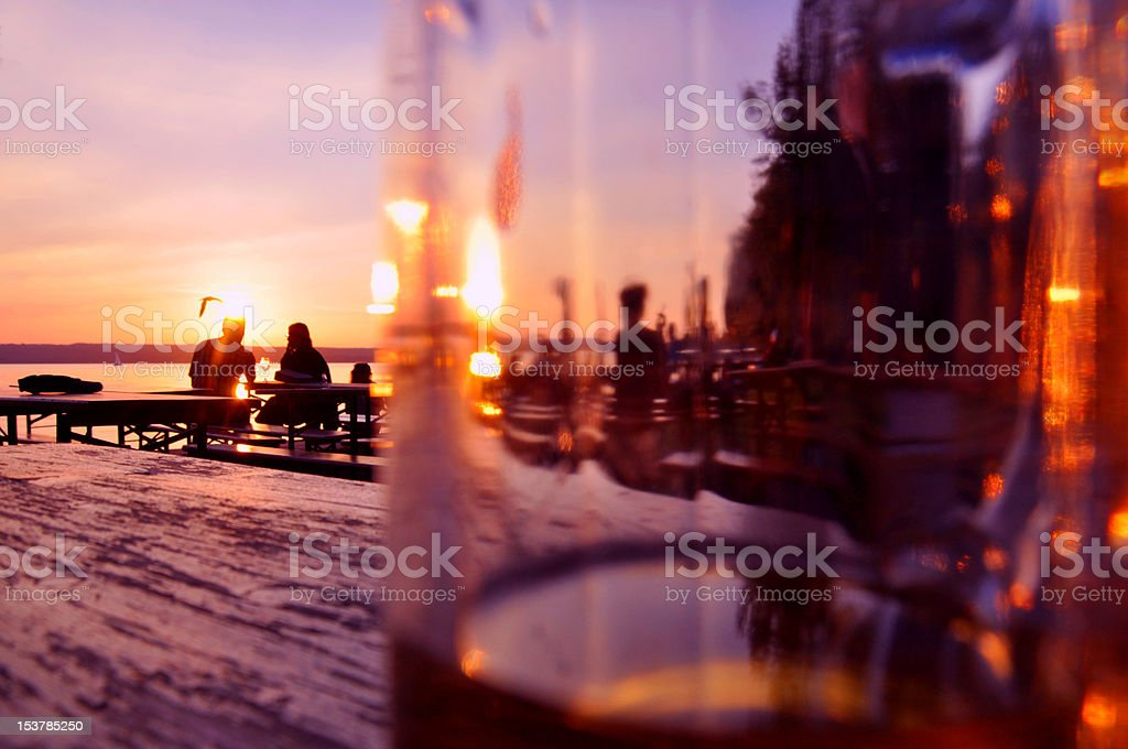 Evening in a beergarden in Bavaria, Germany stock photo