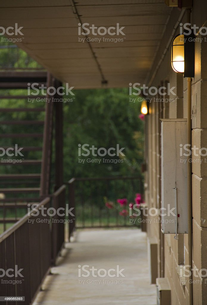 Evening in an old apartment & Motel night begins royalty-free stock photo