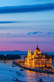 Budapest in the evening, Hungarian Parliament Building at Danube river, capital city of Hungary