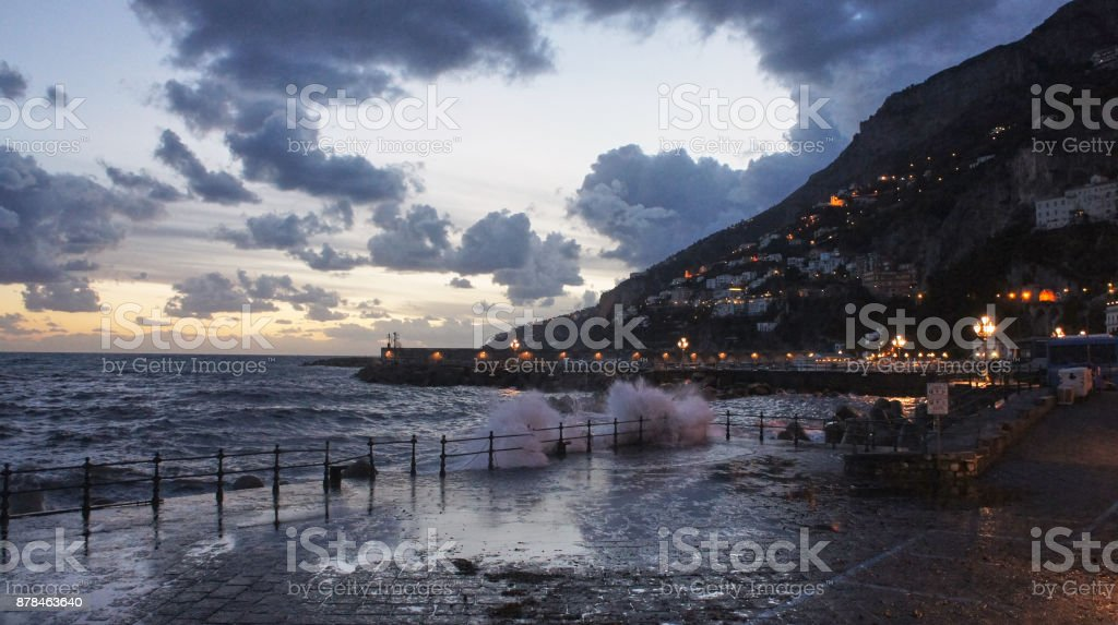 Evening in Campania, Almalfi stock photo